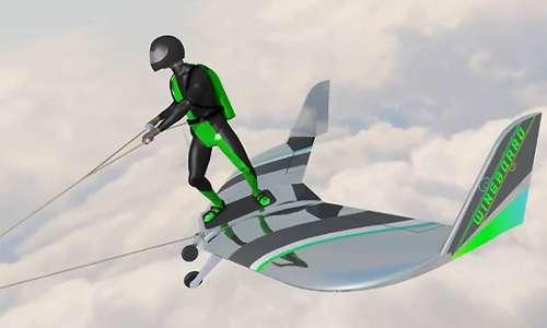 Il progetto base del wingboarding si definisce su una grossa ala che funge un po' come una ravola per fare surging, ma tra le nuvole..