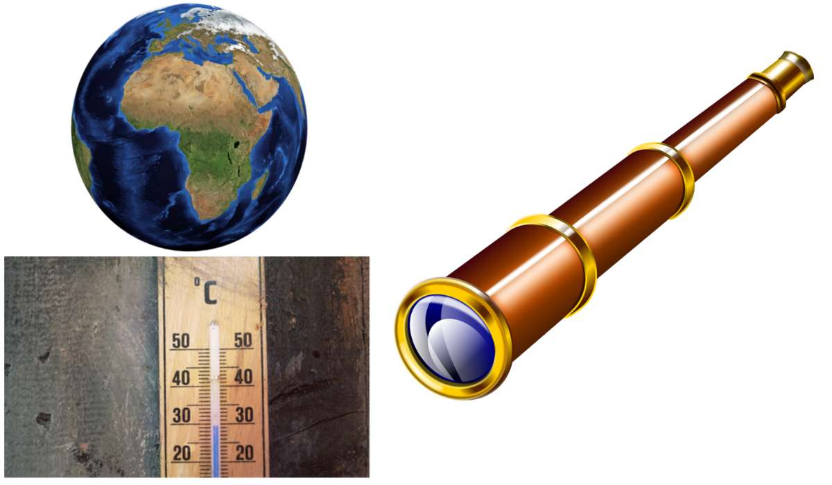Massa terrestre, scala Celsius, cannocchiale