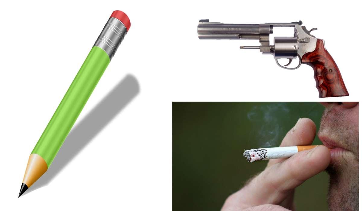 Pistola, sigaretta, matita