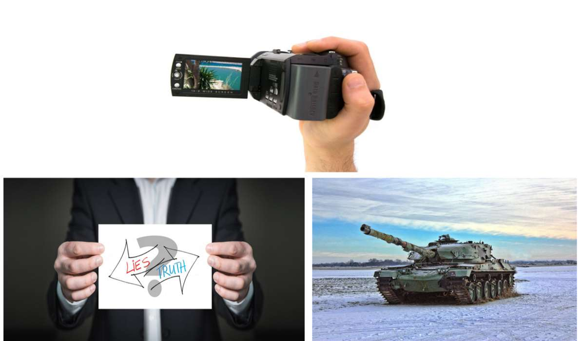 Videocamera personale, carro armato, macchina della verità
