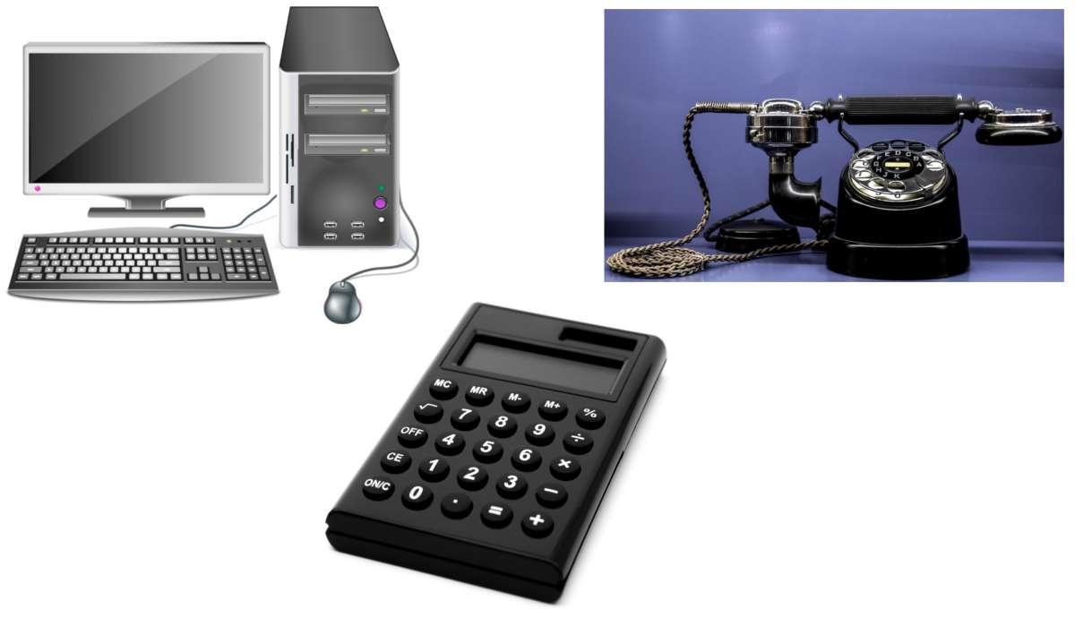 Calcolatrice, computer, telefono