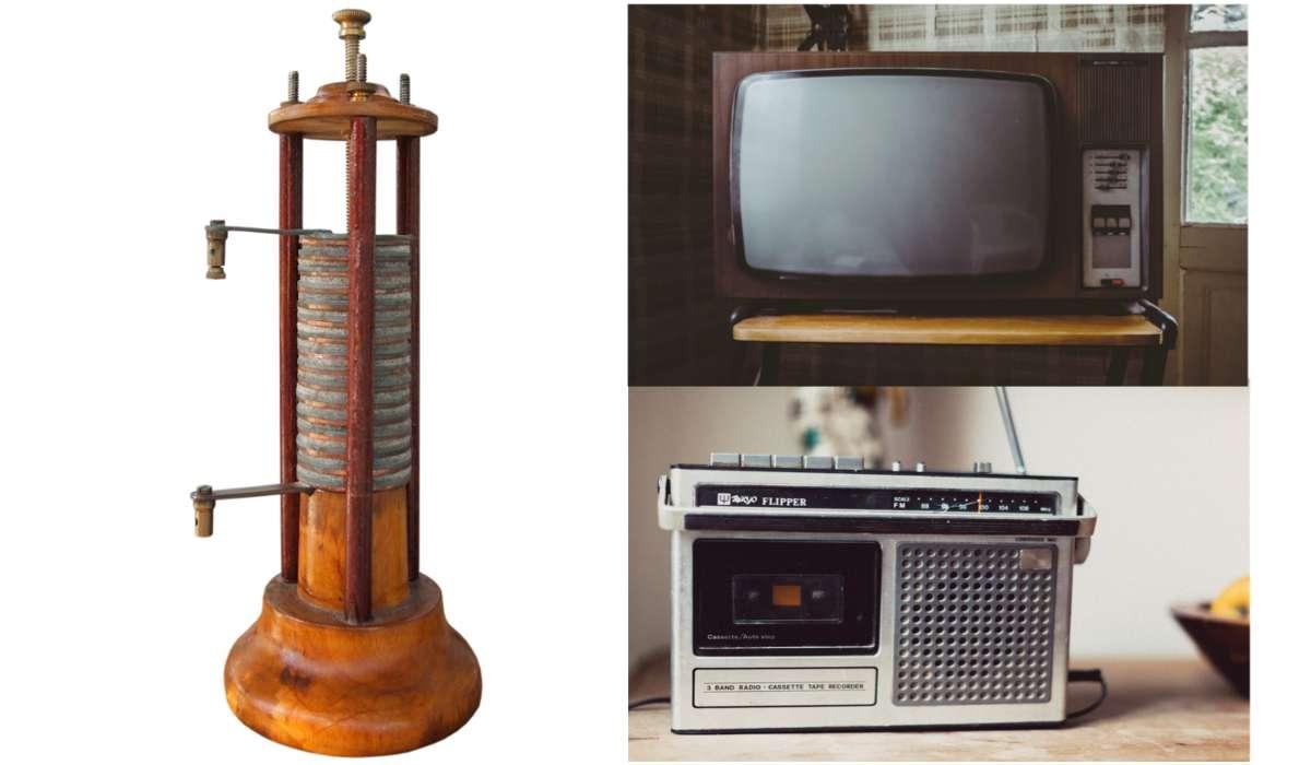 Televisore, radio, pila di Volta