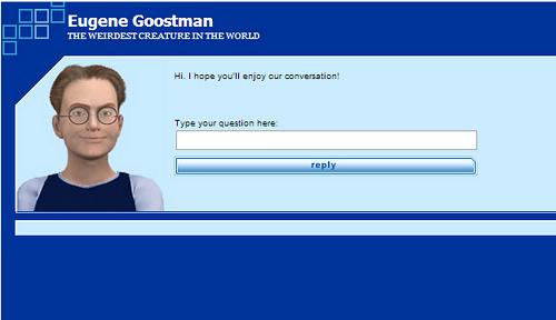 L'interfaccia di Eugene Goostman, l'intelligenza artificiale che ha superato innumerevoli Test di Turing.