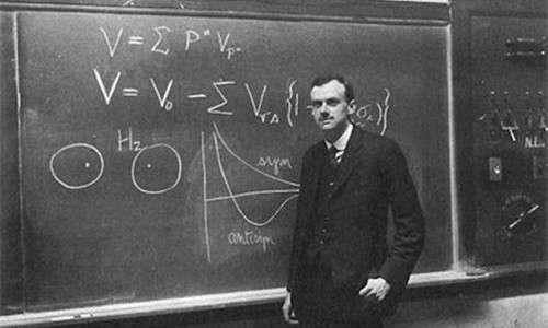 Paul Dirac a lavoro sulla sua equazione