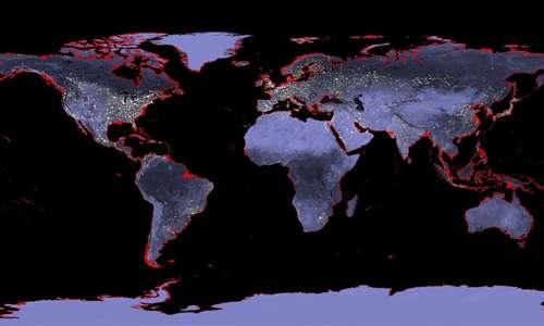 surriscaldamento globale: in rosso sono evidenziate le aree costali che, secondo recenti stime, verrebbero sommerse dall'incremento del livello del mare pari a 6-9 metri in più rispetto all'attuale. Sono gli effetti di un pianeta febbricitante