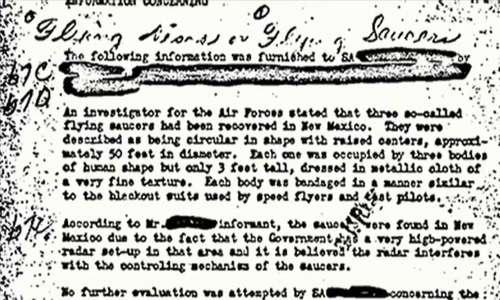 Nell'immagine il telegramma nel quale si parla di avvistamenti ufo, divenuto il documento FBI più letto della storia.