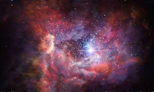 Immagine artistica rappresentativa della galassia A2744_YD4. Il gas colorato è polvere di stelle