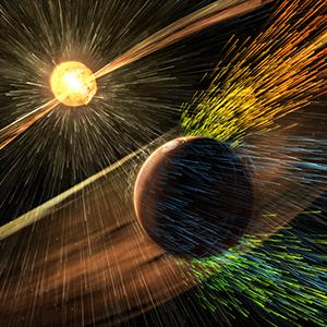 Il campo magnetico di Marte agiva come scudo magnetico contro il vento solare. Potrebbe essere ricreato artificialmente.