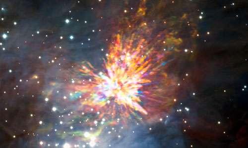 Fuochi d'artificio emessi dalle due stelle presenti nel sistema binario