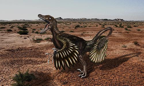 potetica foto di un dinosauro ricoperto da piume