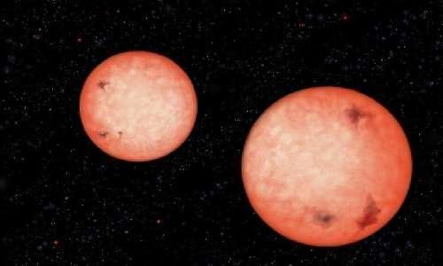 Le stelle doppie in figura fanno parte di un sistema binario che ha una rotazione vicendevole di una durata inferiore a 5 ore. Un dato mai visto prima.