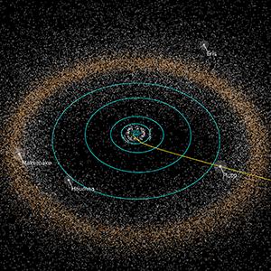 Un immagine creata al computer della fascia di Kuiper.