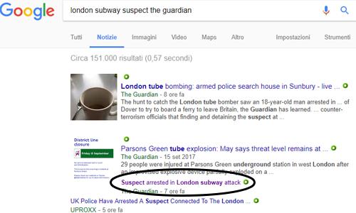 Ricerca su Google della fonte della notizia per scoprire se è una bufala