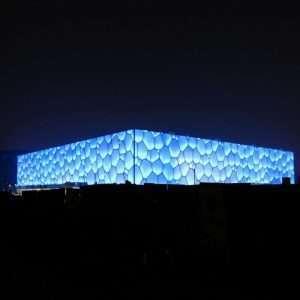 Water Cube, costruito per le Olimpiadi del 2008 in Giappone con l'impiego di cuscinetti in ETFE.