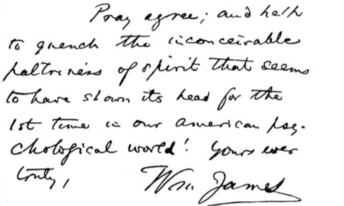 Elementi di grafologia notevoli in questa lettera dello psicologo William James sono la disomogeneità della scrittura e le aste sobrie.