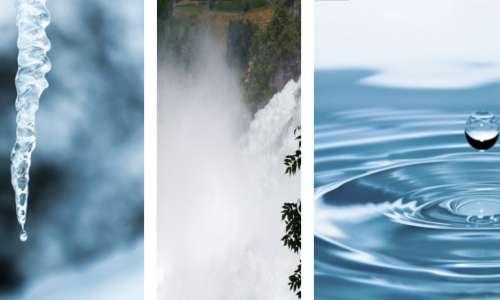 Le tre fasi dell'acqua: solido, liquido e ariforme, prendono dei nomi specifici. I passaggi di stato che permettono le trasformazioni dell'acqua possono coinvolgere diversi stati non necessariamente in ordine.