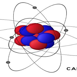 È mostrato il modello atomoco dell'atomo di carbonio: gli elettroni si sposntano su gli orbitali, le altre due particelle subatomiche, protoni e neutroni, si trovano nel nucleo.