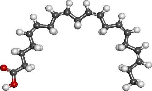 """Struttura chimica dell'EPA, prodotto dal protista """"Crypthecodinium""""."""
