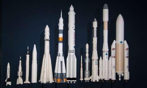 Da destra Ariane 5, 4 e 1