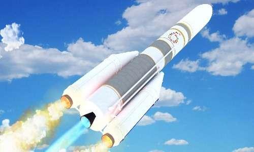 Modello di un Ariane 6 in volo nell'atmosfera terrestre
