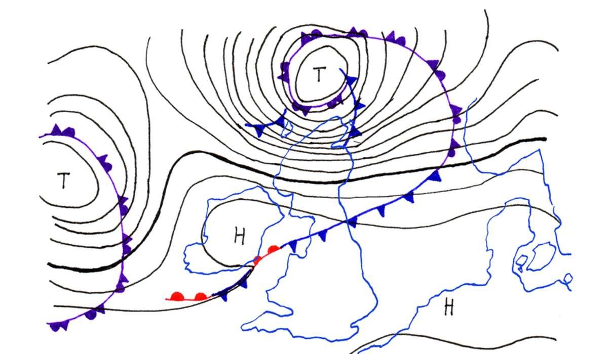 Linee che uniscono punti e aree con lo stesso valore di pressione
