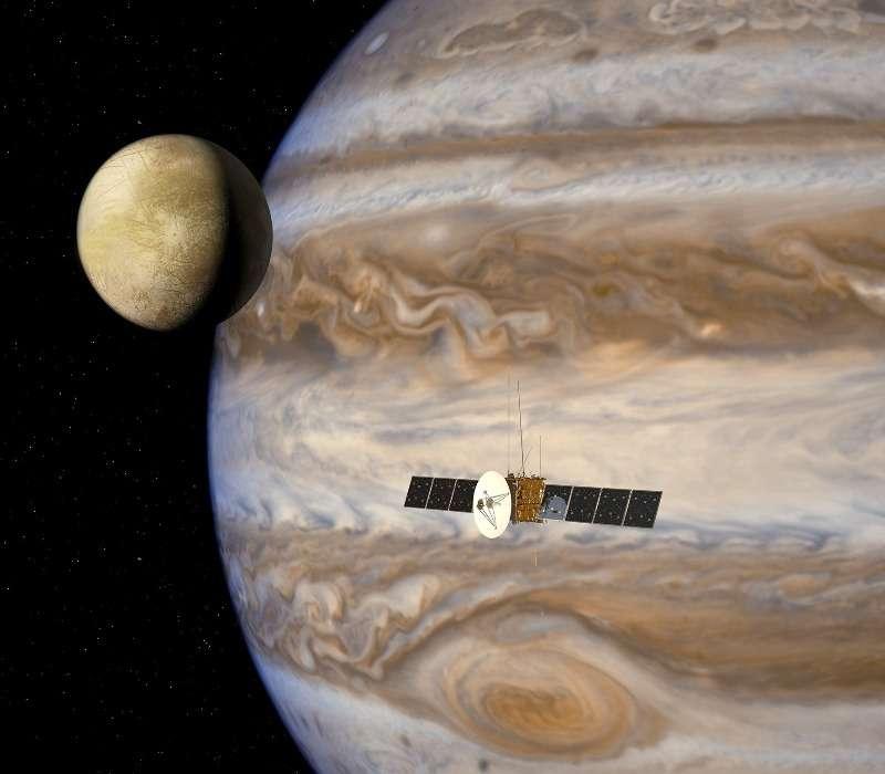 la missione spaziale JUICE studierà Giove e alcuni dei suoi satelliti, tra cui Europa, presente nell'immagine