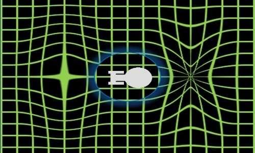 Il motore a curvatura genera un campo che distorce lo spazio-tempo attorno alla navicella