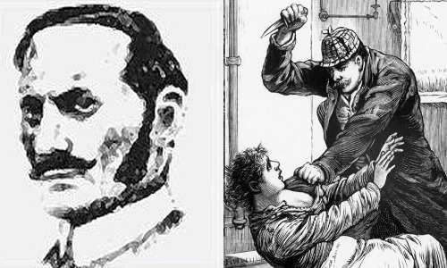 Il volto di Aaron Kosminski, il presunto Jack lo Squartatore raffigurato affianco mentre compie un assassinio