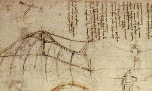 Progetti delle ali per le macchine volanti, disegnate da Leonardo da Vinci imitando quelle di uccello in un processo di biomimesi.