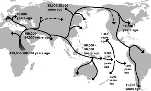 La vicinanza temporale di queste migrazioni dall'Africa, sono uno degli argomenti contro l'esistenza di razze umane.