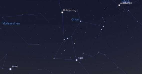 Porzione di cielo stellato mostrato da Stellarium, una delle applicazioni di costellazioni