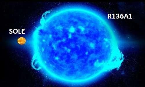 La stella più pesante, R136a1, pesa 315 volte in più di quanto pesa il Sole