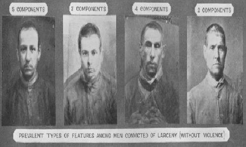 """Esempi di Composite Portraits di una """"razza sociale"""" realizzati da Francis Galton."""