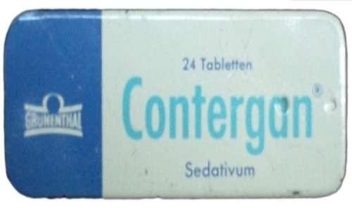 La talidomide è stata venduta con il nome commerciale di Contergan. Nel 1962 è stato ritirato dal mercato vista la sua associazione con la focomelia.