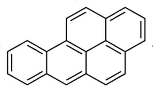 La struttura del benzopirene consiste in 5 anelli benzenici condensati,