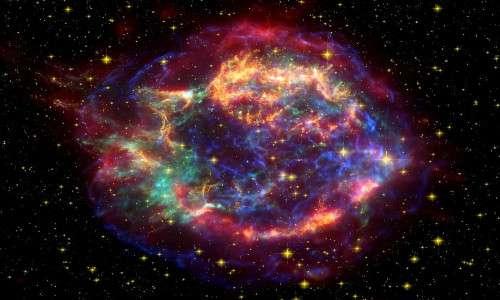 Immagine renderizzata che ritrae una supernova. Le superbolle di Fermi potrebbero essersi originate a seguito di eventi simili.