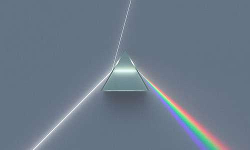 Dispersione luce bianca in tanti colori, a differenza di quanto avviene nella tecnologia laser