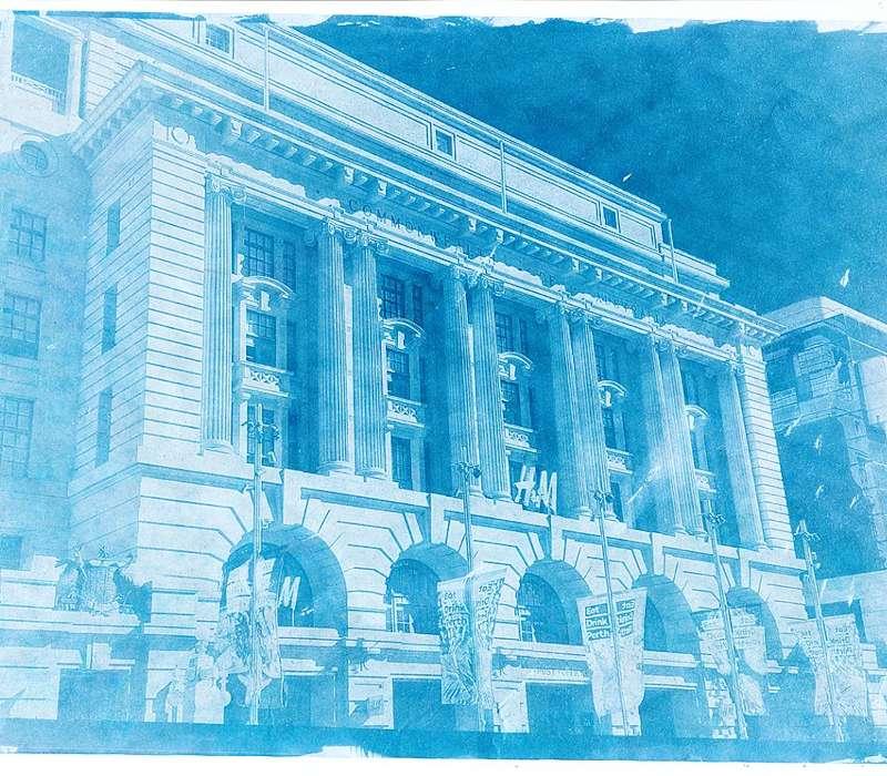 Cianografia stampa ottenuta con metodo di Herschel in tinte di blu di Prussia