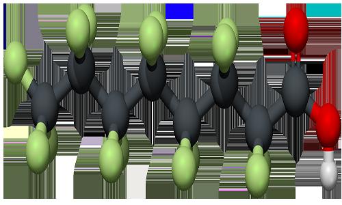 Molecola di acido perfluoroottanoico.