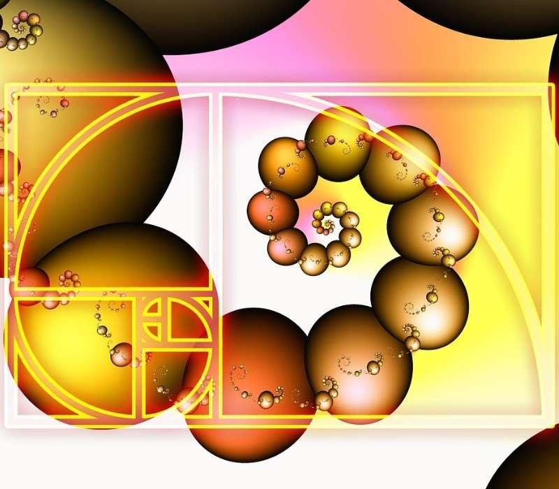 La spirale aurea è una spirale logaritmica in cui il rapporto tra raggi consecutivi è costante e pari al numero aureo, proprio come avviene per grandi numeri consecutivi nella successione di Fibonacci.