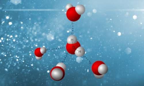 """Molecole d'acqua con legami a idrogeno, formando una struttura """"ordinata""""."""