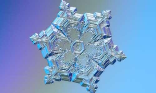 I cristalli di neve al microscopio sono solitamente esagonali con ramificazioni dai vertici.